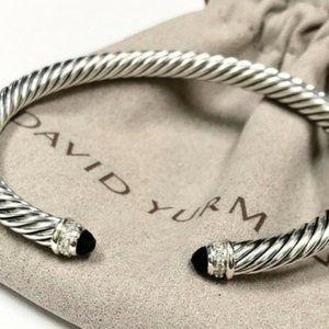 David Yurman Sterling Silver Onyx and Diamonds 5mm